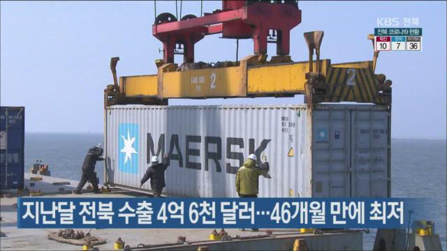 지난달 전북 수출 4억 6천 달러…46개월 만에 최저