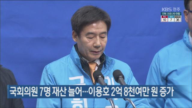 국회의원 7명 재산 늘어…이용호 2억 8천여만 원 증가
