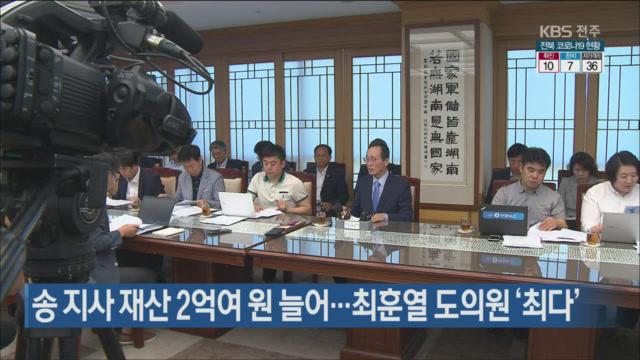 송 지사 재산 2억여 원 늘어…최훈열 도의원 '최다'