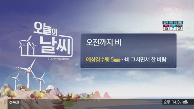 [날씨] 전북 오늘 오전까지 '비'