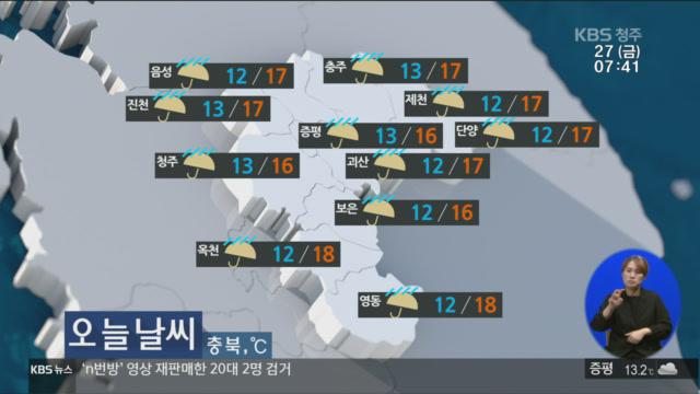 [날씨] 충북 오늘 낮부터 비 그쳐…