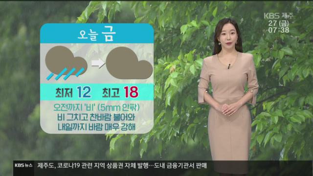 [날씨] 제주 오늘 오전까지 '비'…바람 매우 강해