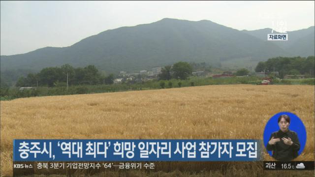 충주시, '역대 최다' 희망 일자리 사업 참가자 모집