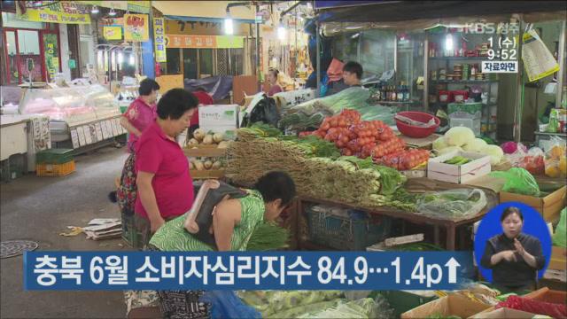 충북 6월 소비자심리지수 84.9…1.4p↑