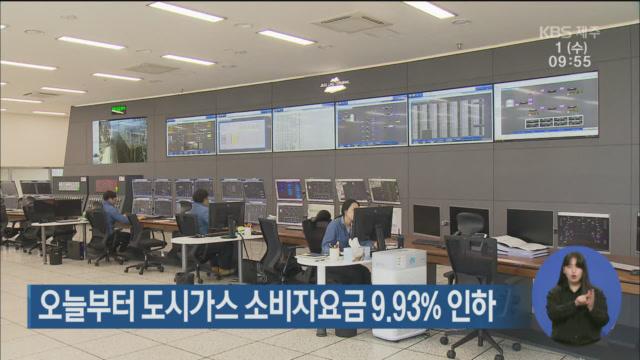 오늘부터 제주 도시가스 소비자 요금 9.93% 인하