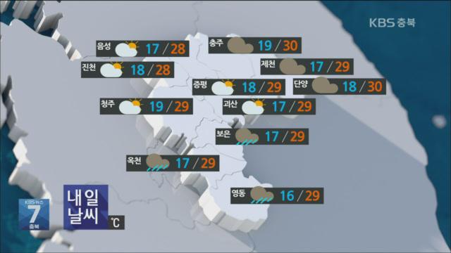 [날씨] 충북 내일 대체로 흐려…오후 곳곳 소나기
