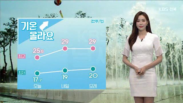 [날씨] 전북 내일 한낮 30도, 내륙 곳곳 소나기