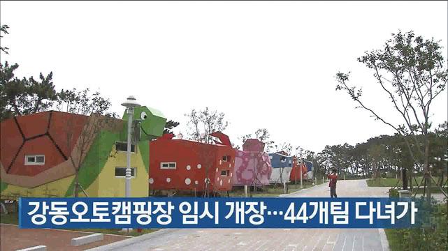 강동오토캠핑장 임시 개장…44개팀 다녀가